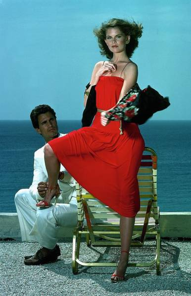 Photograph - Model Wearing A Red Dress by Guy Le Baube