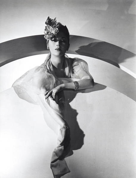 Wall Art - Photograph - Model Wearing Floral Hat With Mauboussin Jewelry by Horst P Horst