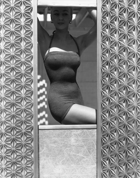 Shutters Photograph - Model Wearing Sportwhirl Swimsuit by Horst P Horst