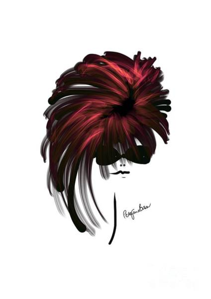 Hairdo Digital Art - Model With Cool Red Highlights In Her Hair by Peta Brown