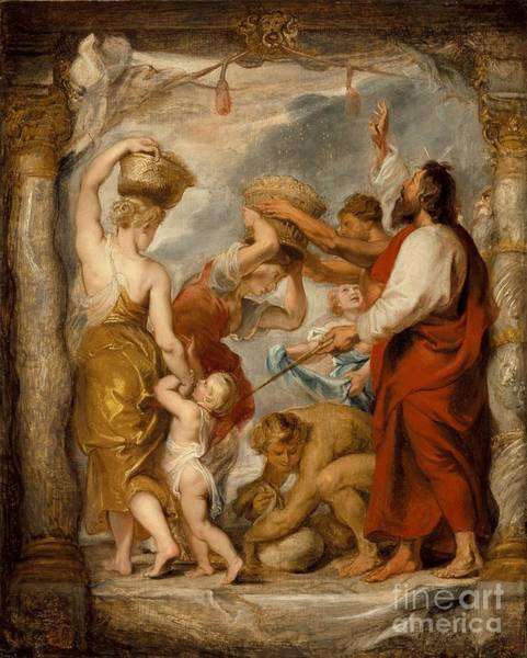 Painting - Modello For The Israelites Gathering Manna In The Desert by Celestial Images