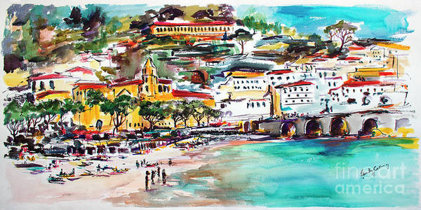 Painting - Modern Amalfi Watercolor And Ink Painting by Ginette Callaway