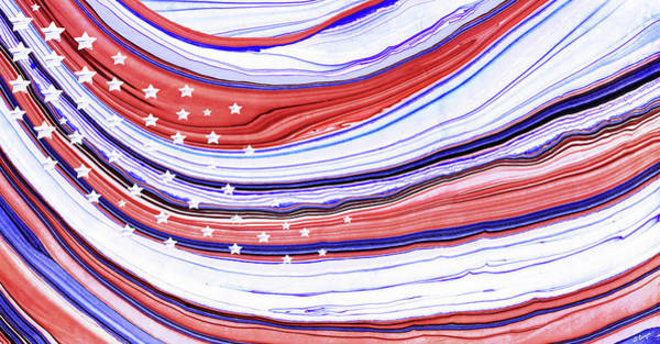 Patriotism Painting - Modern American Flag - Red White And Blue - Sharon Cummings by Sharon Cummings