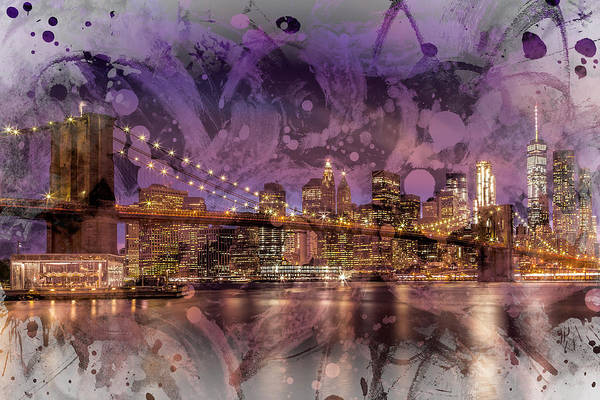 Wall Art - Photograph - Modern Art Brooklyn Bridge Sunset  by Melanie Viola