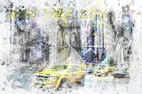 Wall Art - Digital Art - Modern Art New York City Collage by Melanie Viola