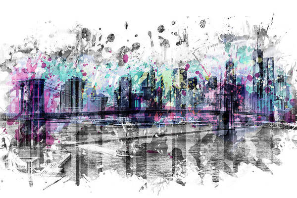Wall Art - Digital Art - Modern Art New York City Skyline - Splashes  by Melanie Viola
