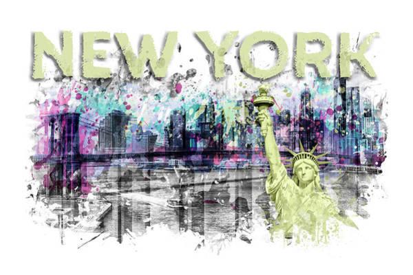 Wall Art - Digital Art - Modern Art New York City Skyline Splashes - Yellow by Melanie Viola