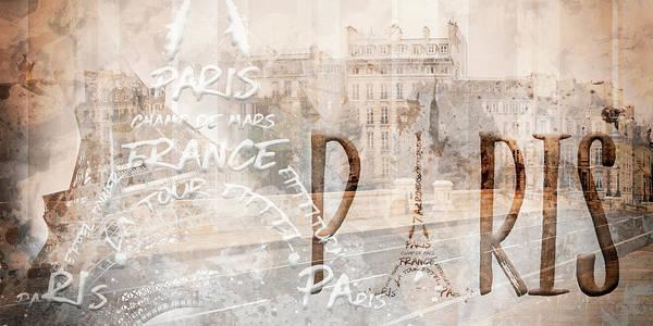 Mixed-media Photograph - Modern Art Paris Collage by Melanie Viola