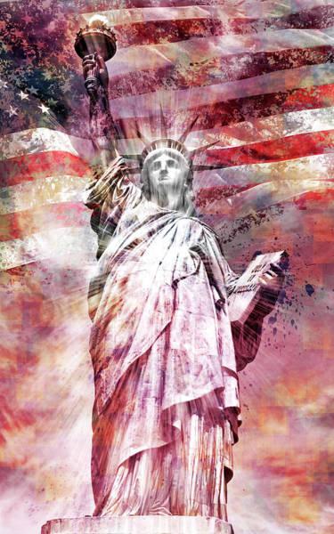 Wall Art - Photograph - Modern-art Statue Of Liberty - Red by Melanie Viola
