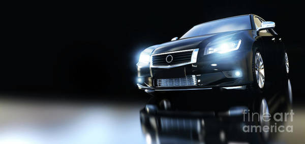 Car Wash Photograph - Modern Black Metallic Sedan Car In Spotlight. Banner by Michal Bednarek