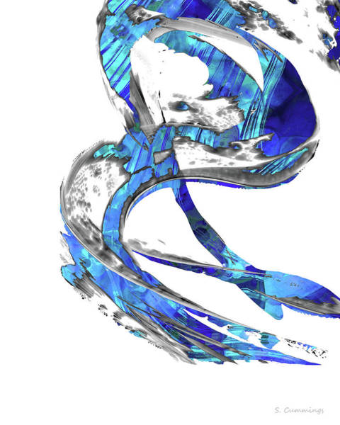 Sharp Painting - Modern Blue And White Art - Flowing 4 - Sharon Cummings by Sharon Cummings