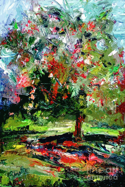 Mixed Media - Modern Cherry Tree Contemporary Art  by Ginette Callaway