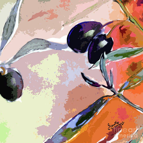 Mixed Media - Modern Decor Art Olive Branches 4 by Ginette Callaway