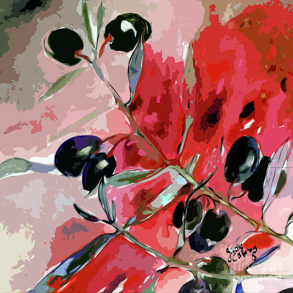Mixed Media - Modern Decor Art Olive Branches by Ginette Callaway