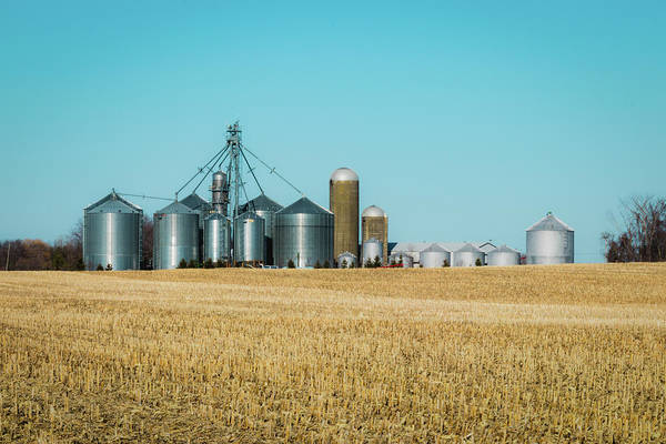 Photograph - Modern Farm, Metallic Silos by Cristina Stefan