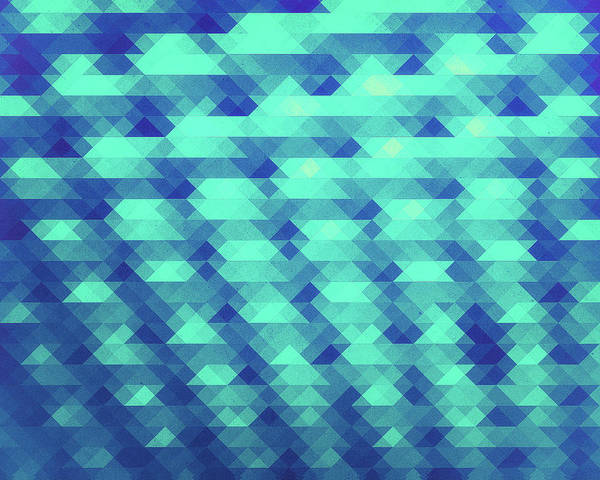 Illusion Digital Art - Modern Fashion Abstract Color Pattern In Blue   Green by Philipp Rietz