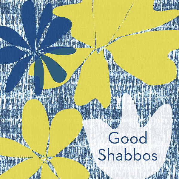 Jewish Art Wall Art - Mixed Media - Modern Floral Good Shabbos- Art By Linda Woods by Linda Woods