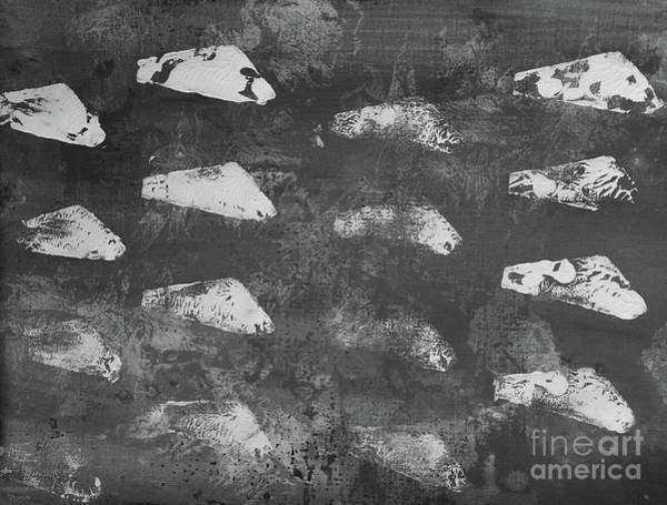 Painting - Modern Fossil Grayscale by Robin Maria Pedrero
