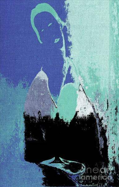 Aqua Blue Digital Art - Abstract Portrait - 87t1dc7b by Variance Collections