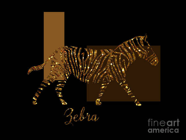 Negative Space Digital Art - Modern Golden Zebra, Gold Black Brown by Tina Lavoie