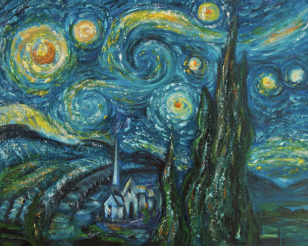 Digital Art - Modern Interpretation Of Vincent Van Gogh's Scene Of The Starry Night. by OLena Art Brand
