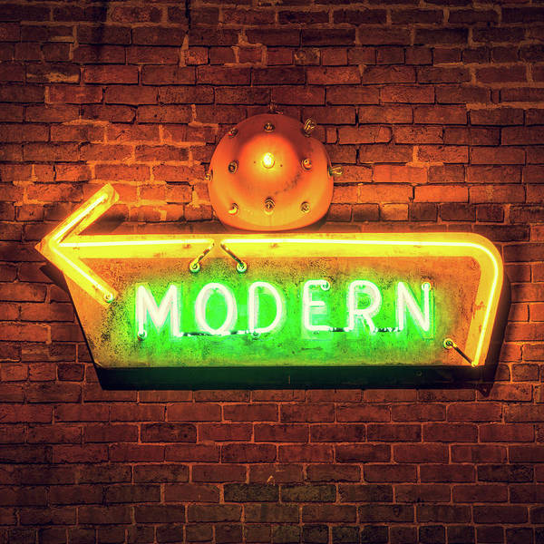 Photograph - Modern Neon Sign - Square Format by Gregory Ballos