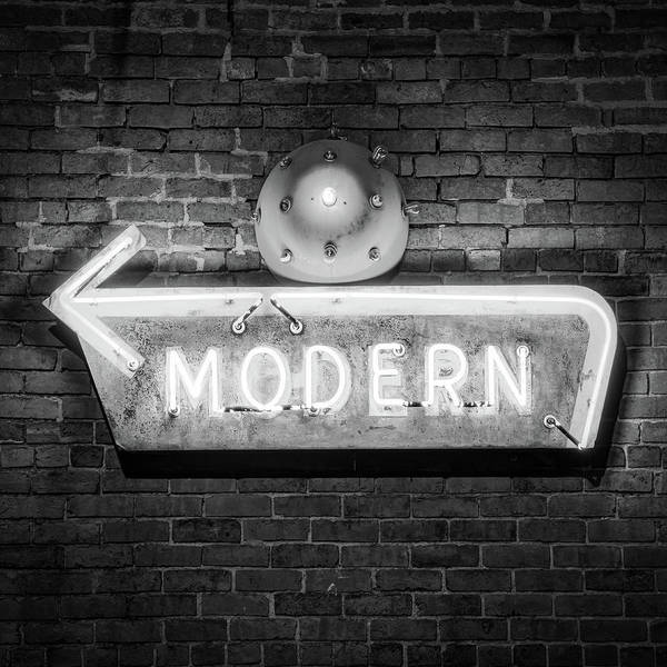 Photograph - Modern Neon Sign - Square Format - Monochrome by Gregory Ballos