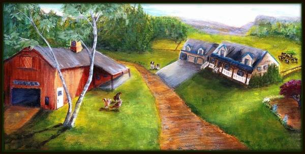 Field Spaniel Painting - Modern New Hampshire Farm by Deborah Naves