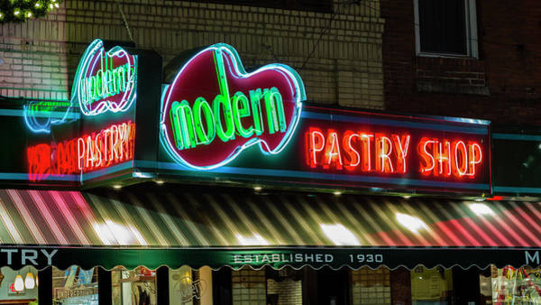 Boston North End Wall Art - Photograph - Modern Pastry Neon - #1 by Stephen Stookey