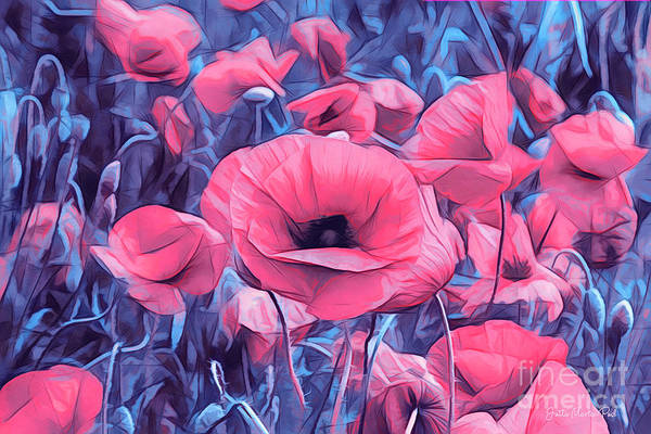 Digital Art - Modern Poppies by Jutta Maria Pusl