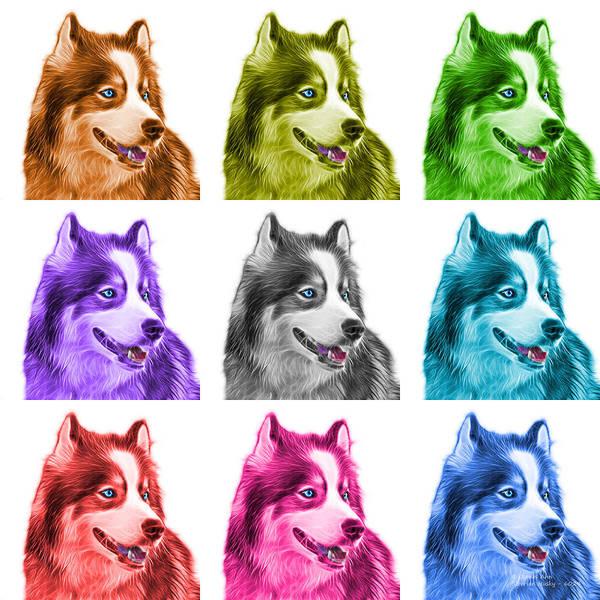 Painting - Modern Siberian Husky Dog Art - 6024 - Wb - M by James Ahn