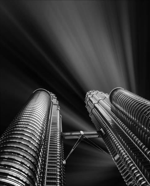 Metropolis Mixed Media - Modern Skyscraper Black And White Picture by Stefano Senise