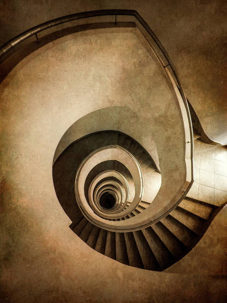 Wall Art - Photograph - Modern Spiral Staircase In Sepia Tones by Jaroslaw Blaminsky