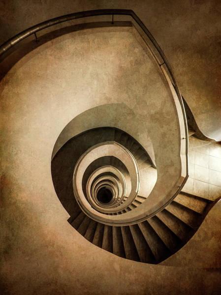Photograph - Modern Spiral Staircase In Sepia Tones by Jaroslaw Blaminsky