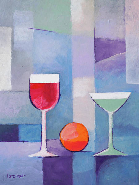 Martini Glasses Painting - Modern Still Life Painting by Lutz Baar