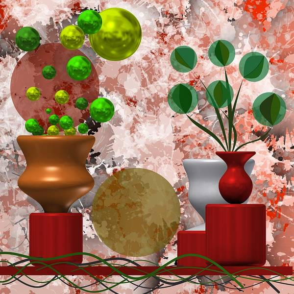 Modern Still Life With Abstract Flowers Art Print