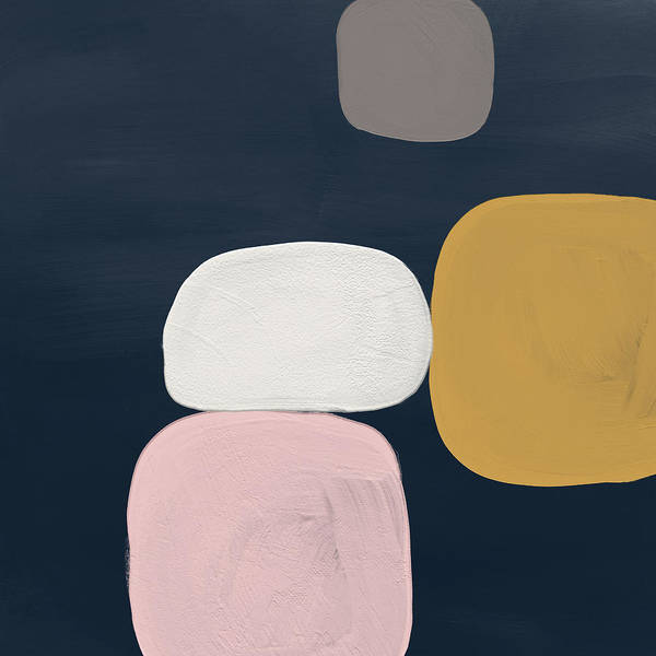 Wall Art - Painting - Modern Stones Navy 2- Art By Linda Woods by Linda Woods