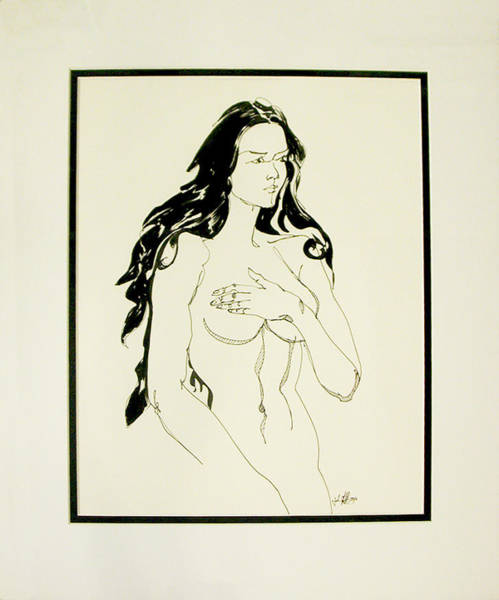 Drawing - Modest Female Nude by John Gibbs