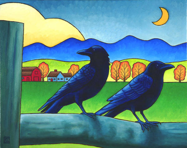 Wall Art - Painting - Moe And Joe Crow by Stacey Neumiller