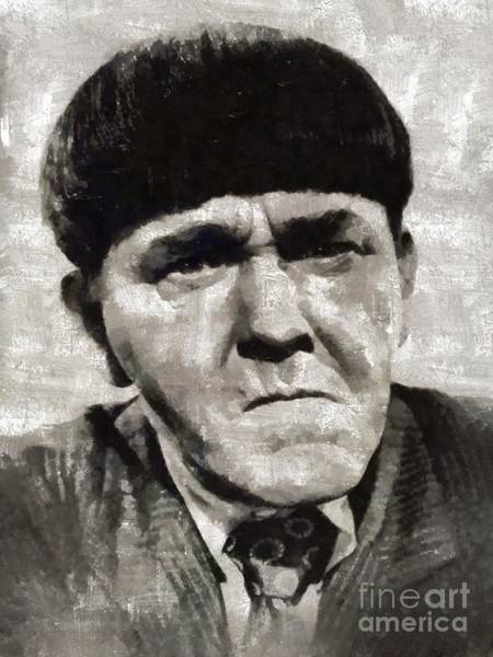 Screen Painting - Moe Howard, Vintage Entertainer by Mary Bassett
