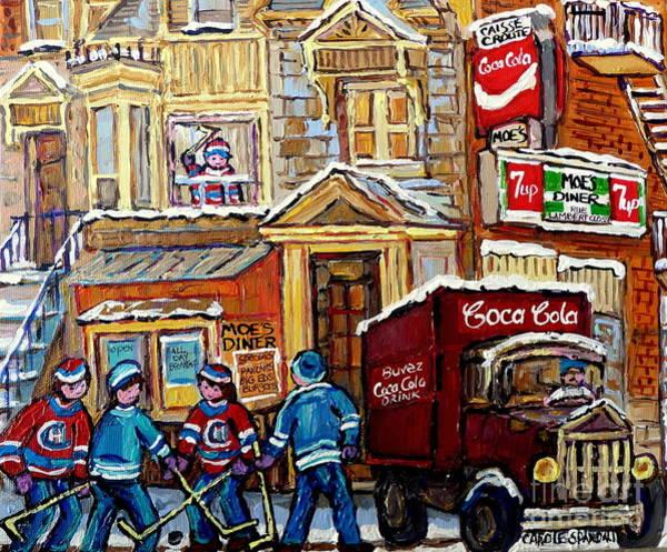 Painting - Moe's Diner Montreal Memories Casse Croute Du Coin Corner Montreal Forum Hockey Art  Landmark  by Carole Spandau