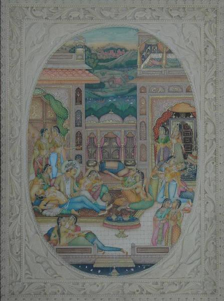 Wall Art - Painting - Moghul Mughal Mogul Miniature Art Handmade Watercolor Harem Theme Folk Painting by R Verma