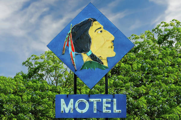 Mohican Photograph - Mohican Motel Neon Sign Circa 1948  -  1948mohicanneon172496 by Frank J Benz