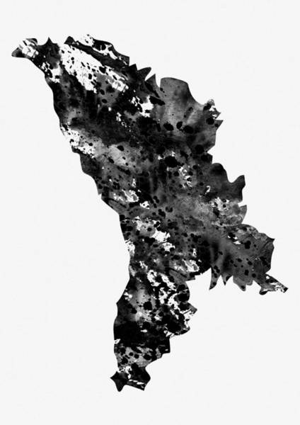 Moldova Wall Art - Digital Art - Map Of Moldova-black by Erzebet S