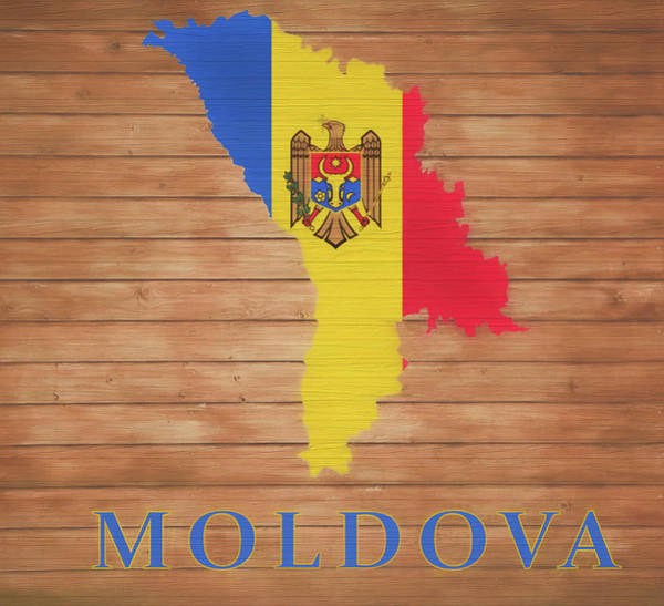 Moldova Wall Art - Mixed Media - Moldova Rustic Map On Wood by Dan Sproul