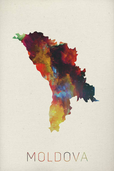 Moldova Wall Art - Mixed Media - Moldova Watercolor Map by Design Turnpike