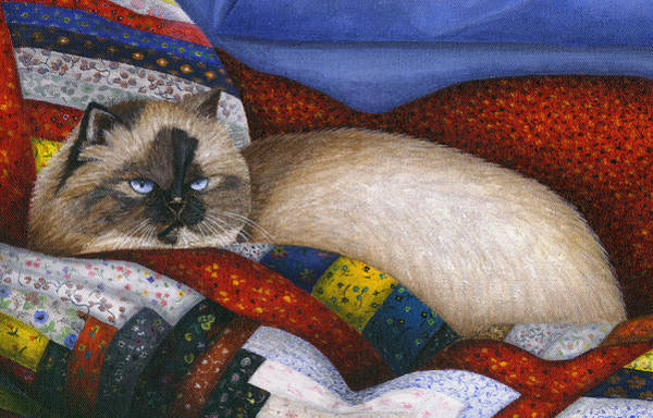 Wall Art - Painting - Molly - A Rescue Cat - Close Up by Carol Wilson