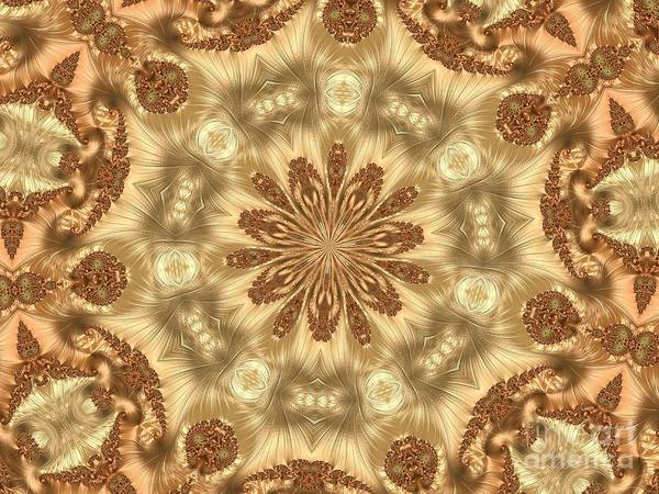 Digital Art - Molten Gold Fractal Mandala Kaleidoscope Abstract 2 by Rose Santuci-Sofranko