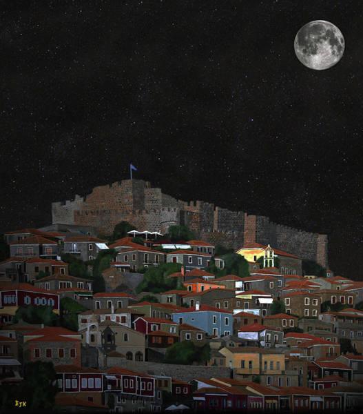 Mixed Media - Molyvos Lesvos Greece Moonlight by Eric Kempson