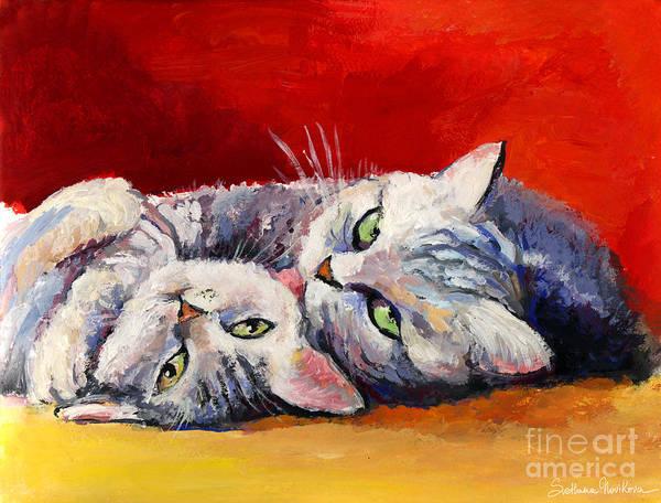 Russian Painting - Mom And Kitten Cat Painting by Svetlana Novikova